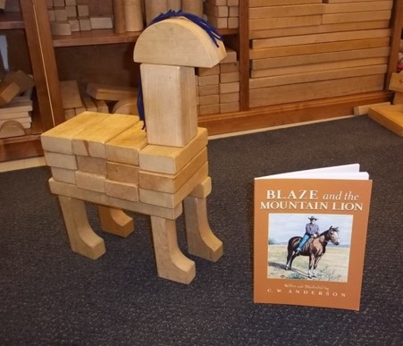 Horse made from blocks by kindergarten children after reading the Blaze book series